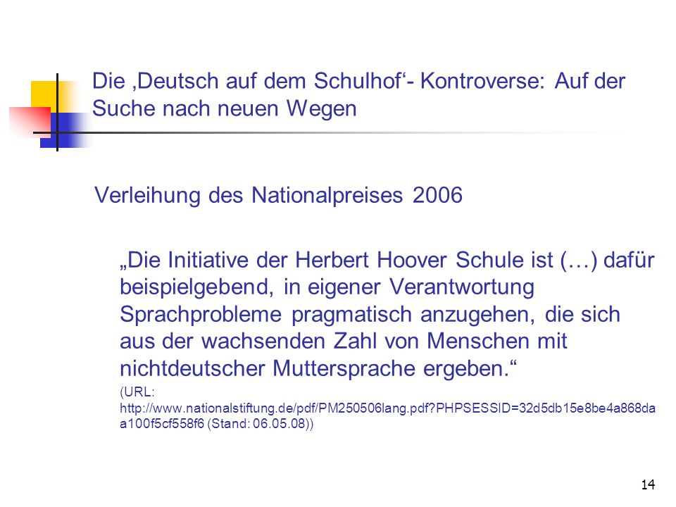 Verleihung des Nationalpreises 2006