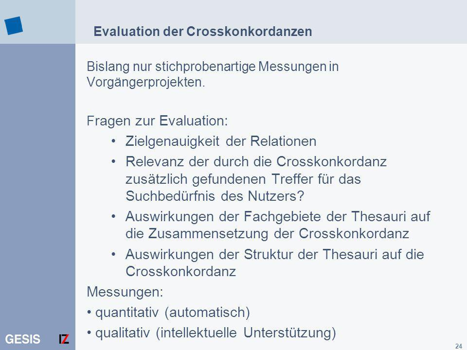 Evaluation der Crosskonkordanzen