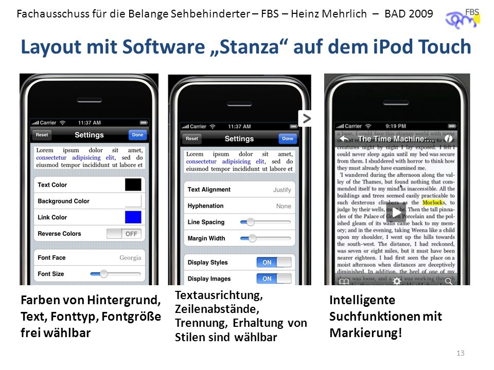 "Layout mit Software ""Stanza auf dem iPod Touch"