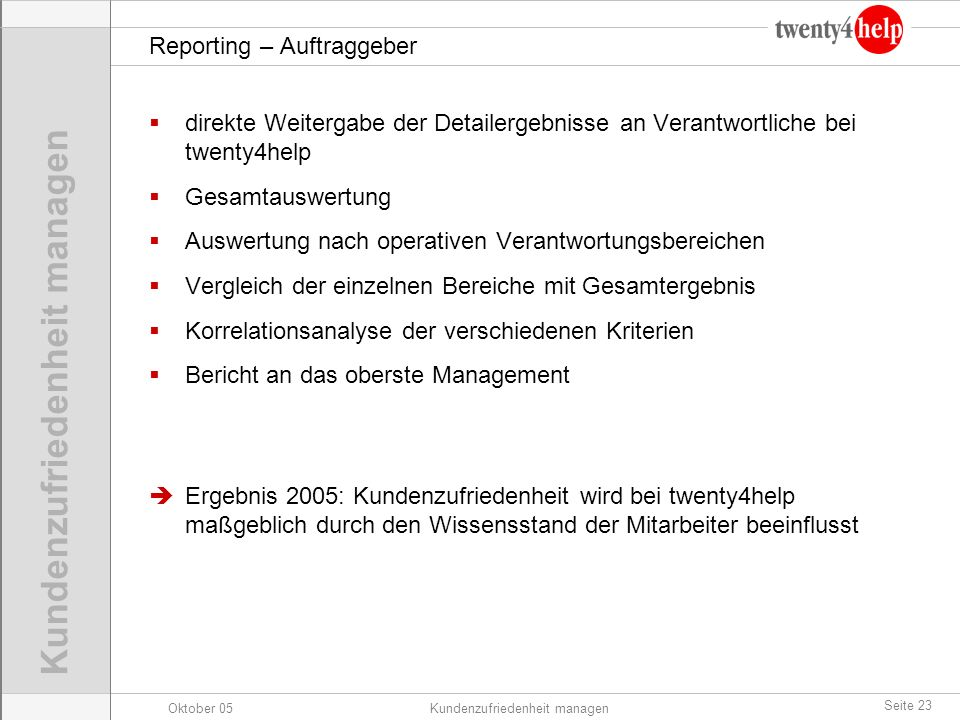 Reporting – Auftraggeber