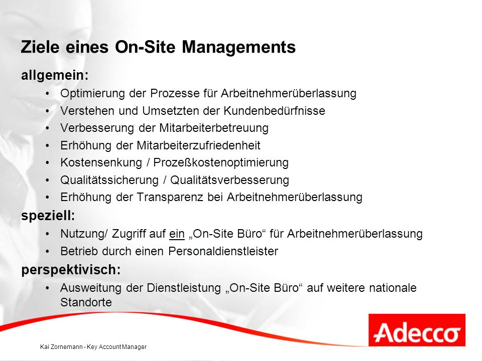 Ziele eines On-Site Managements