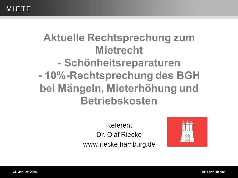 Referent Dr. Olaf Riecke