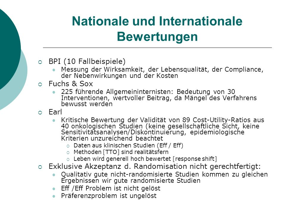 Nationale und Internationale Bewertungen