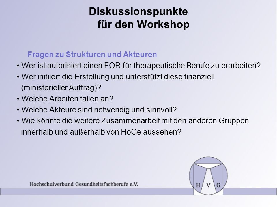 Diskussionspunkte für den Workshop