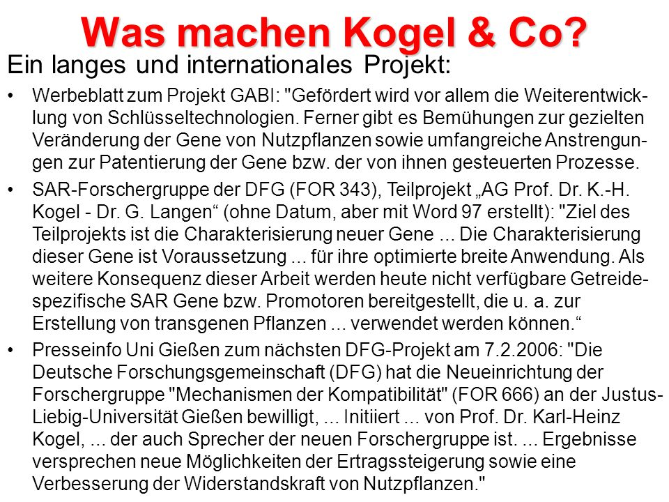 Was machen Kogel & Co Ein langes und internationales Projekt: