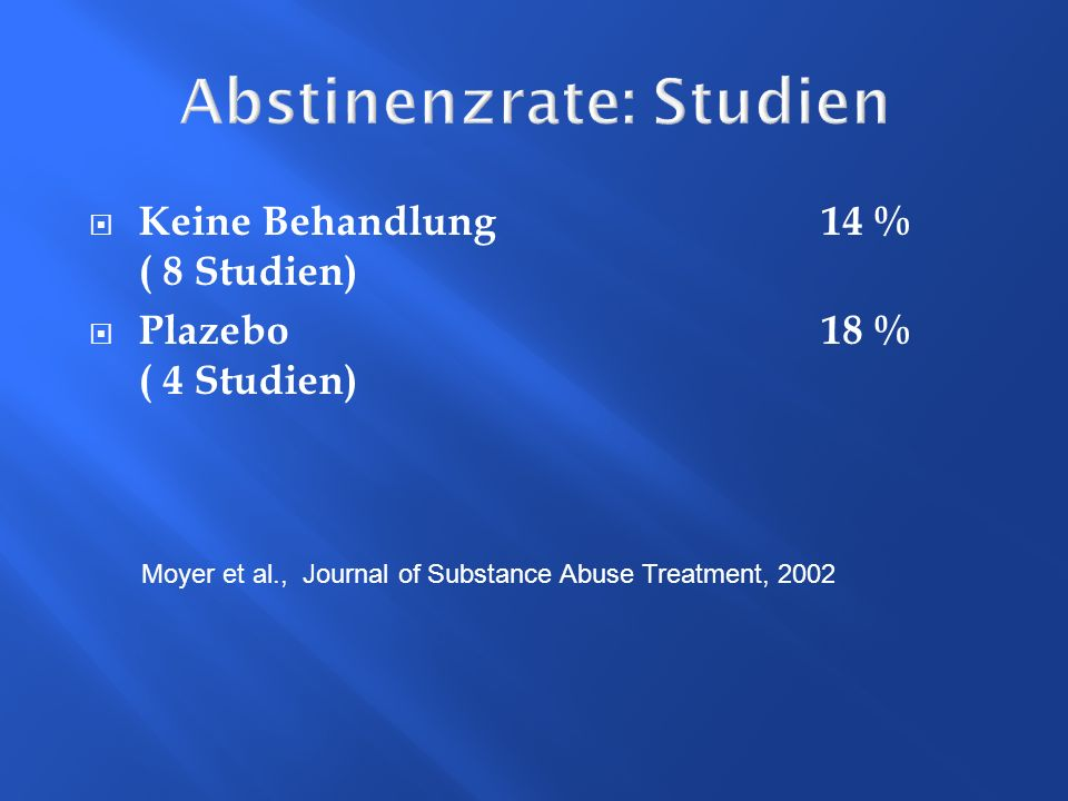 Abstinenzrate: Studien