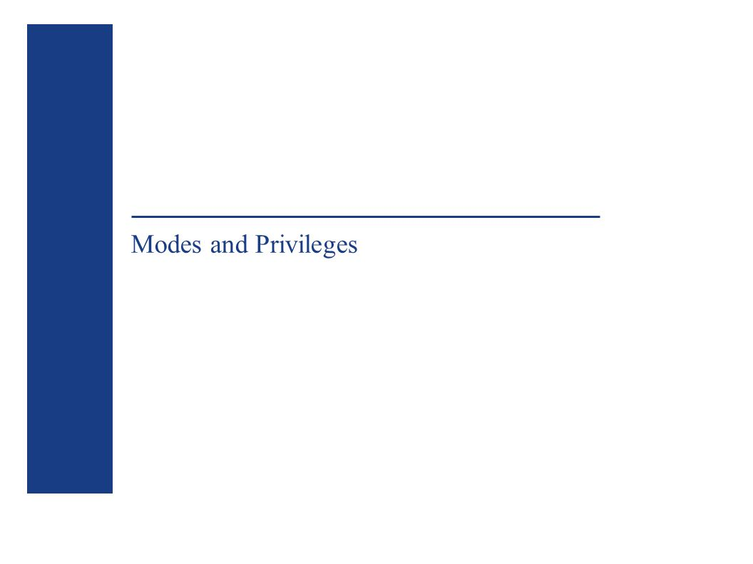 Modes and Privileges