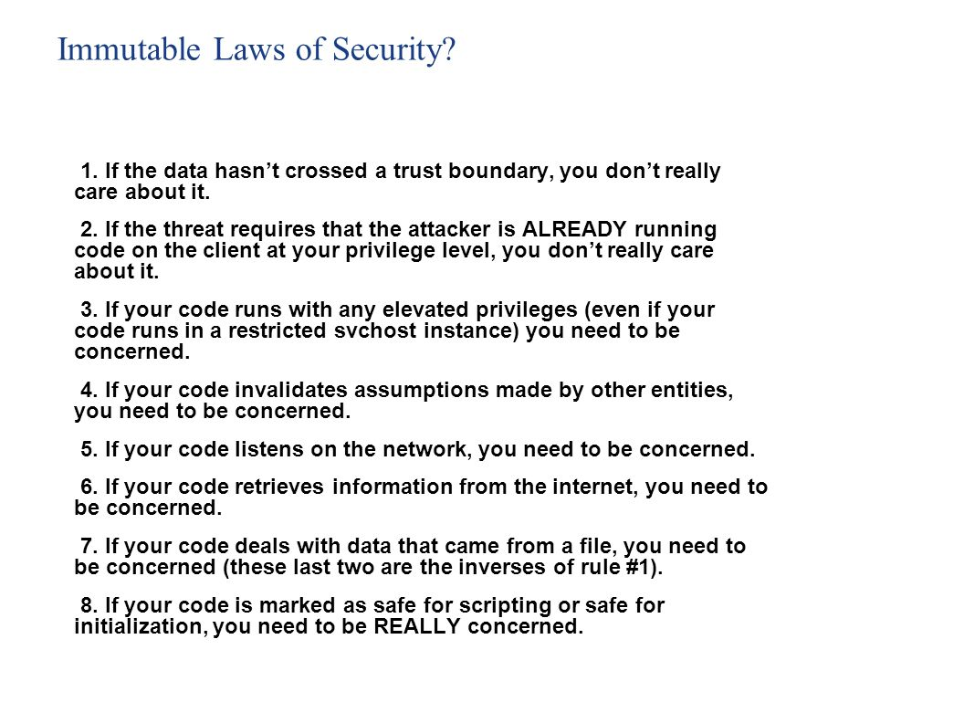 Immutable Laws of Security