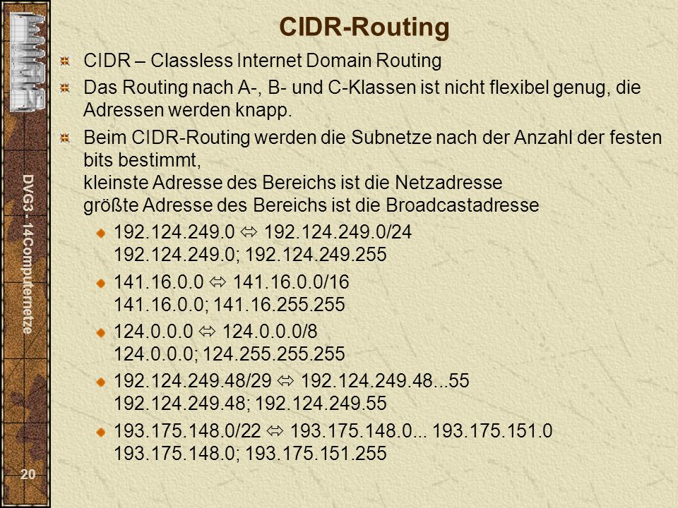 CIDR-Routing CIDR – Classless Internet Domain Routing
