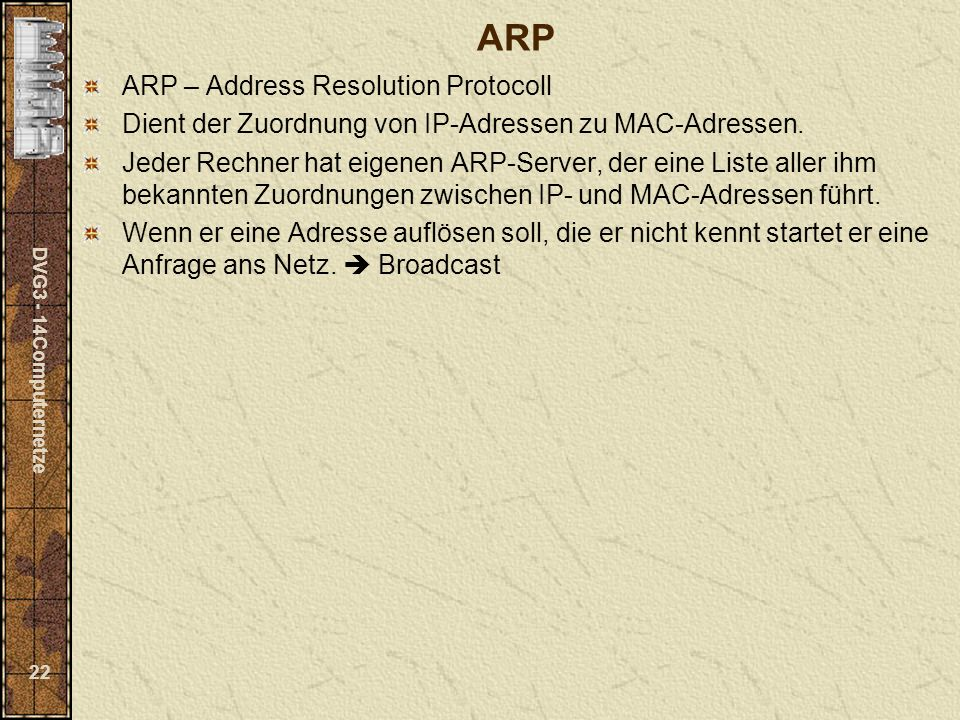 ARP ARP – Address Resolution Protocoll