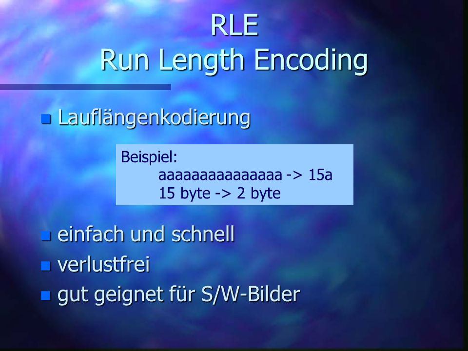 RLE Run Length Encoding