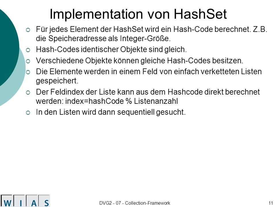 Implementation von HashSet