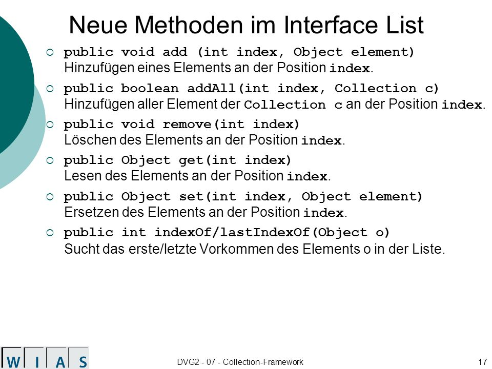 Neue Methoden im Interface List