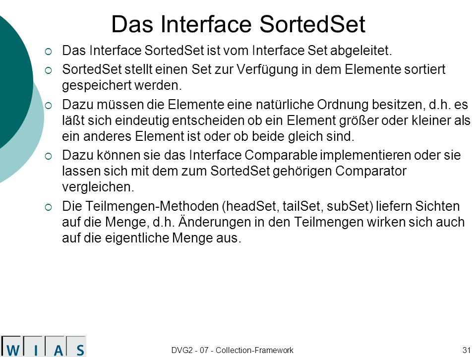 Das Interface SortedSet