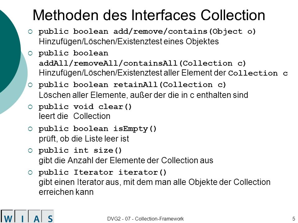 Methoden des Interfaces Collection