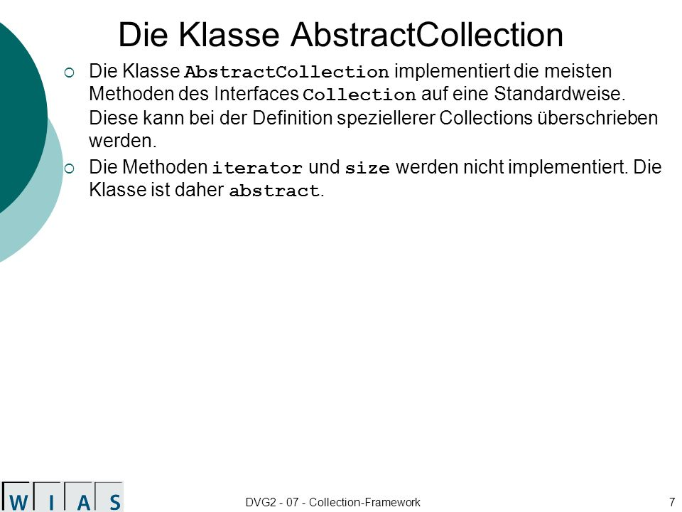 Die Klasse AbstractCollection
