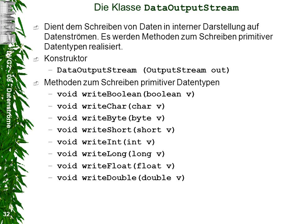 Die Klasse DataOutputStream