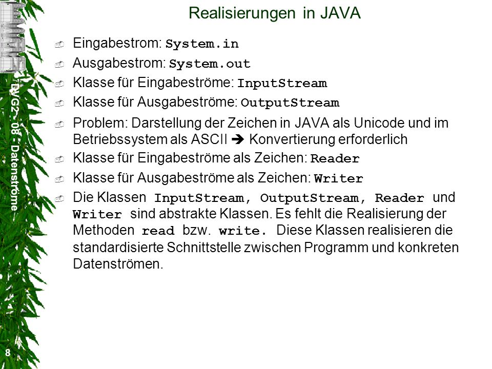 Realisierungen in JAVA