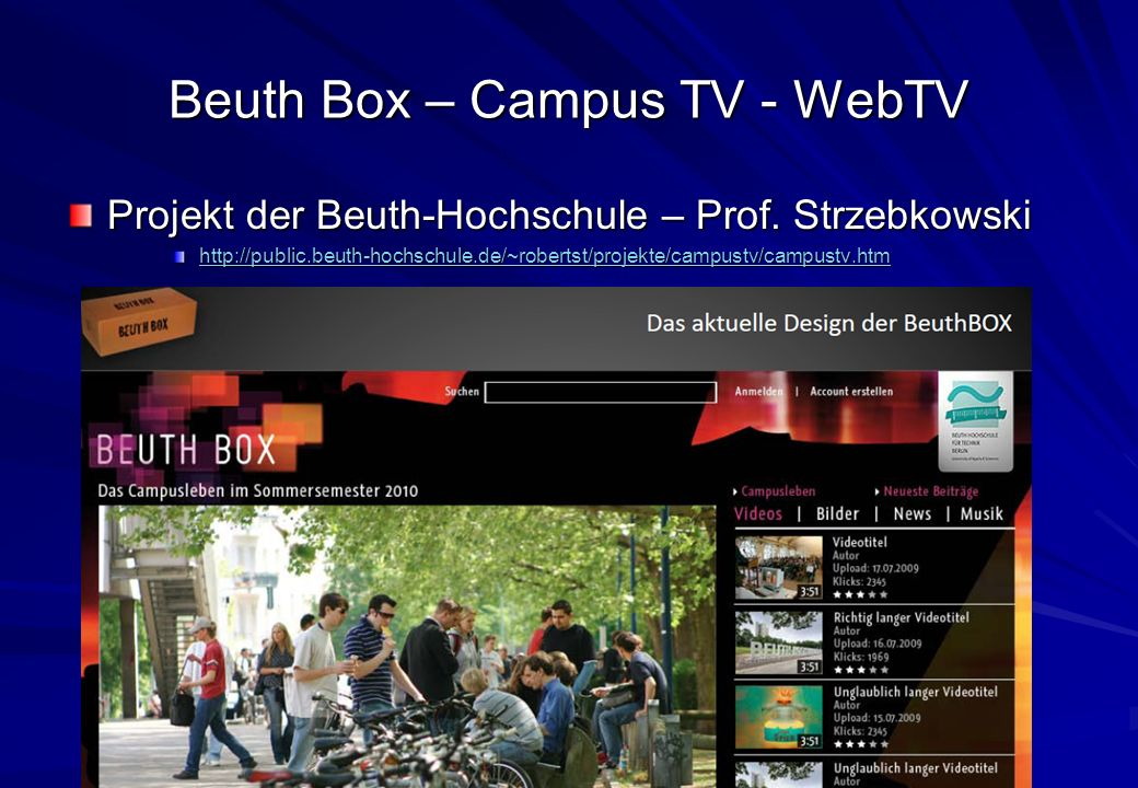 Beuth Box – Campus TV - WebTV