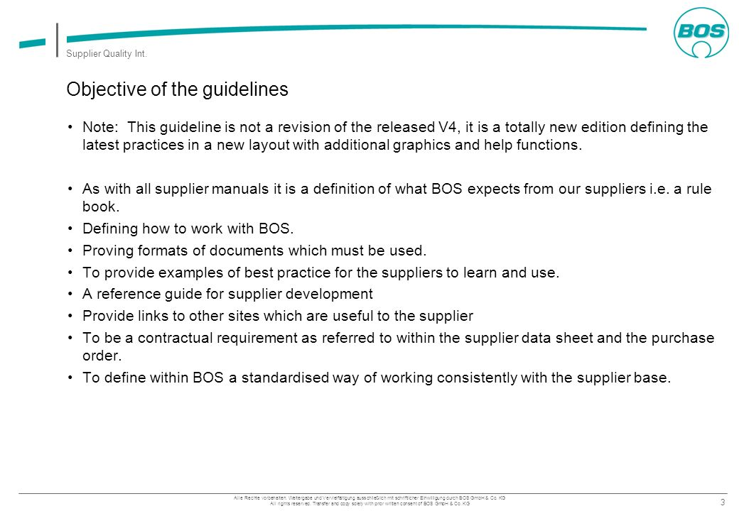 Objective of the guidelines