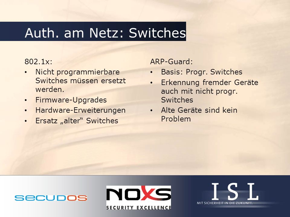 Auth. am Netz: Switches 802.1x: