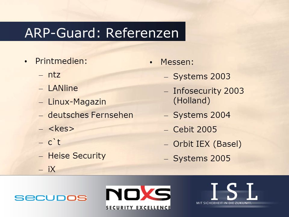 ARP-Guard: Referenzen