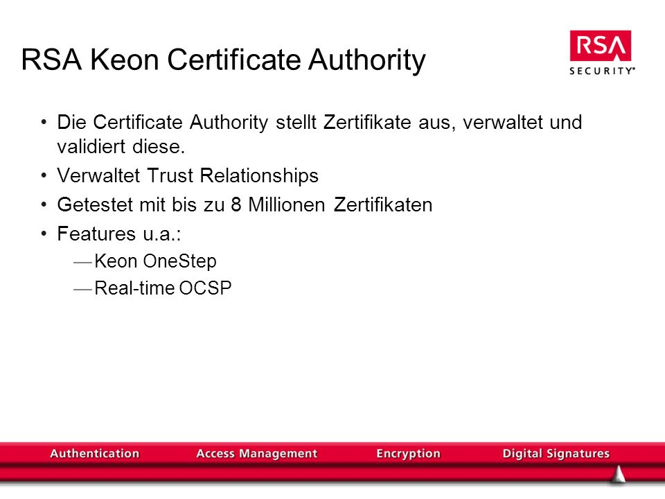 RSA Keon Certificate Authority