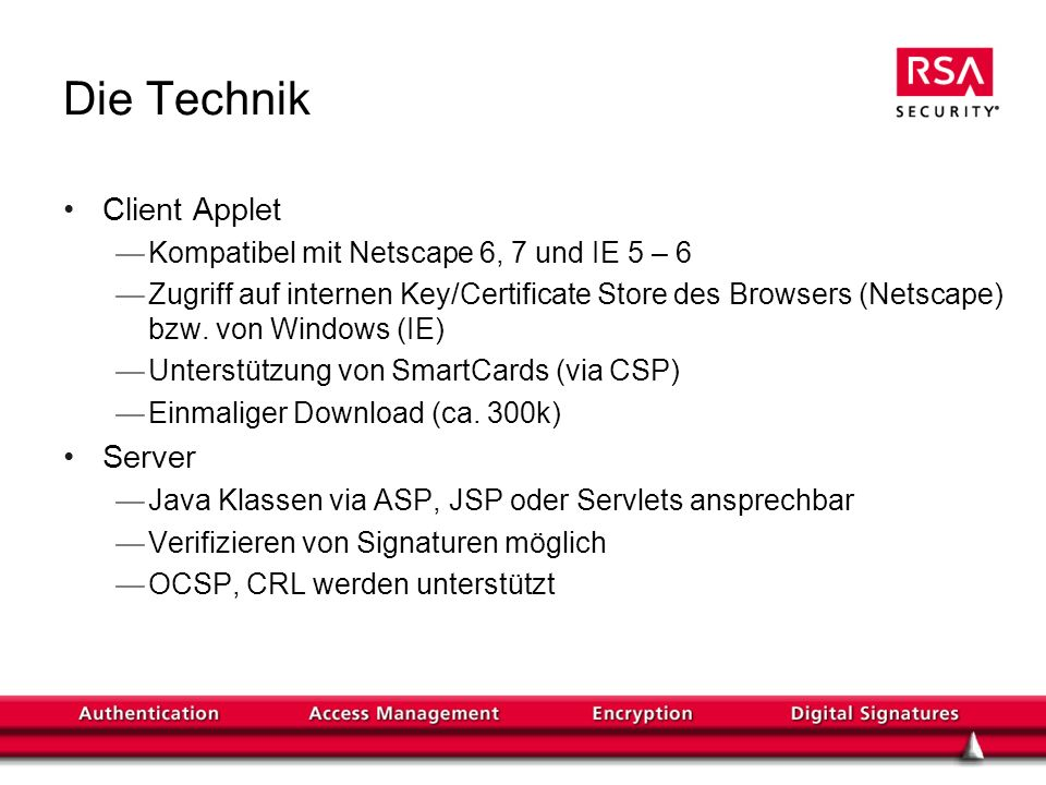 Die Technik Client Applet Server