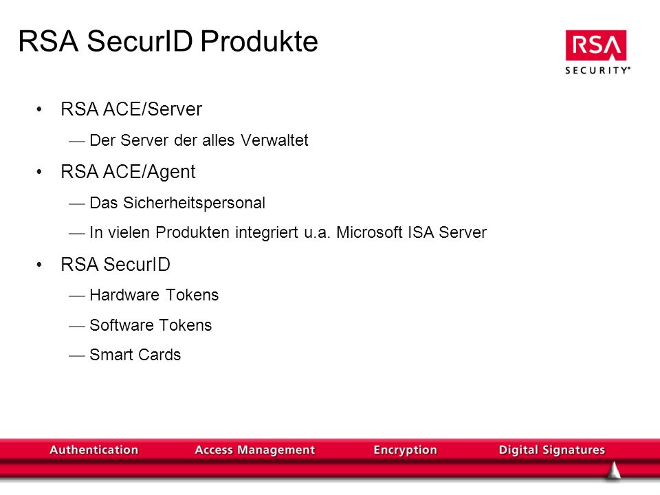 RSA SecurID Produkte RSA ACE/Server RSA ACE/Agent RSA SecurID
