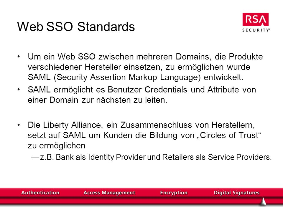 Web SSO Standards