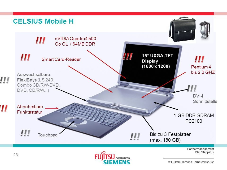 CELSIUS Mobile H !!! nVIDIA Quadro4 500 Go GL / 64MB DDR. !!! !!! 15 UXGA-TFT Display (1600 x 1200)