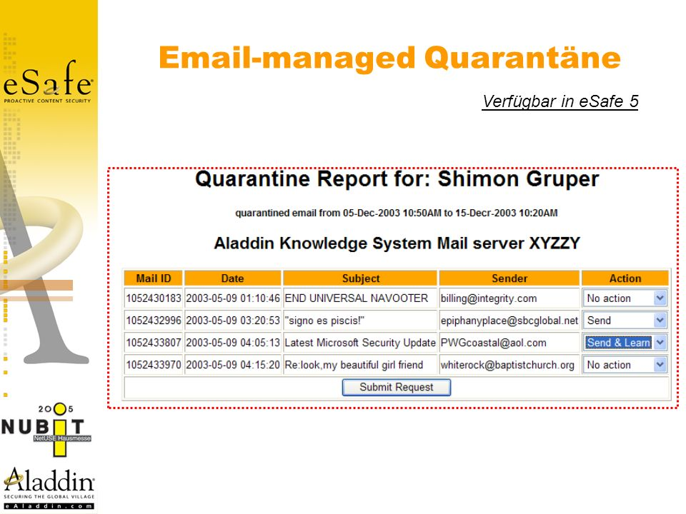 Email-managed Quarantäne