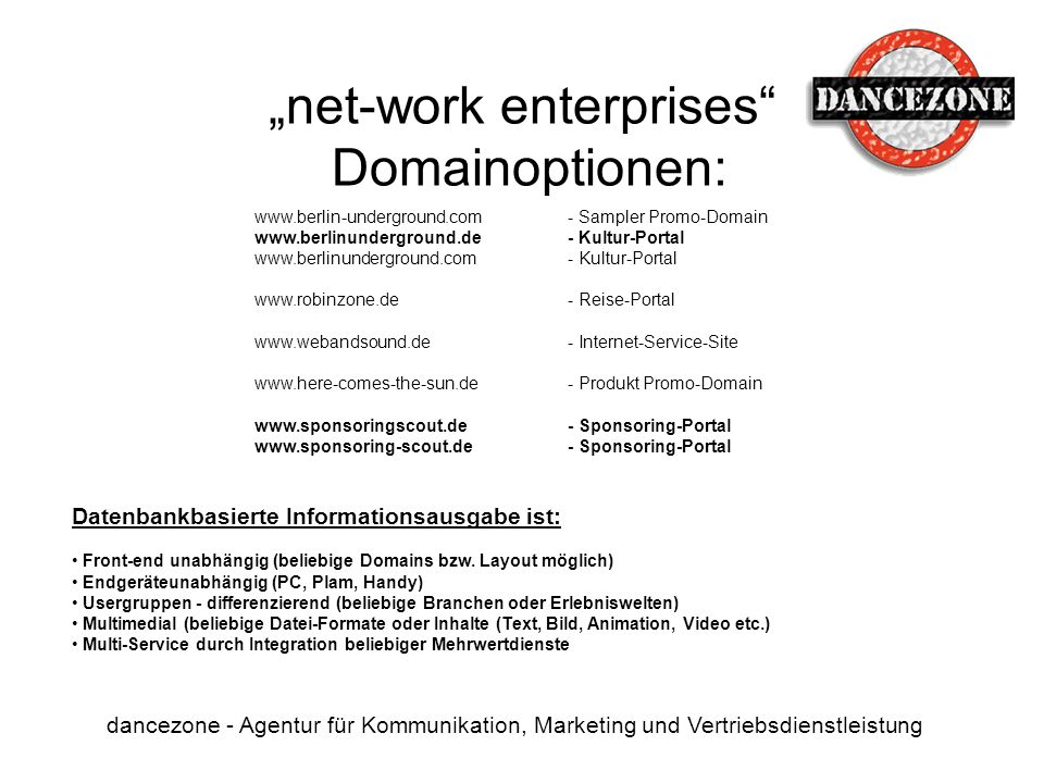 """net-work enterprises Domainoptionen:"