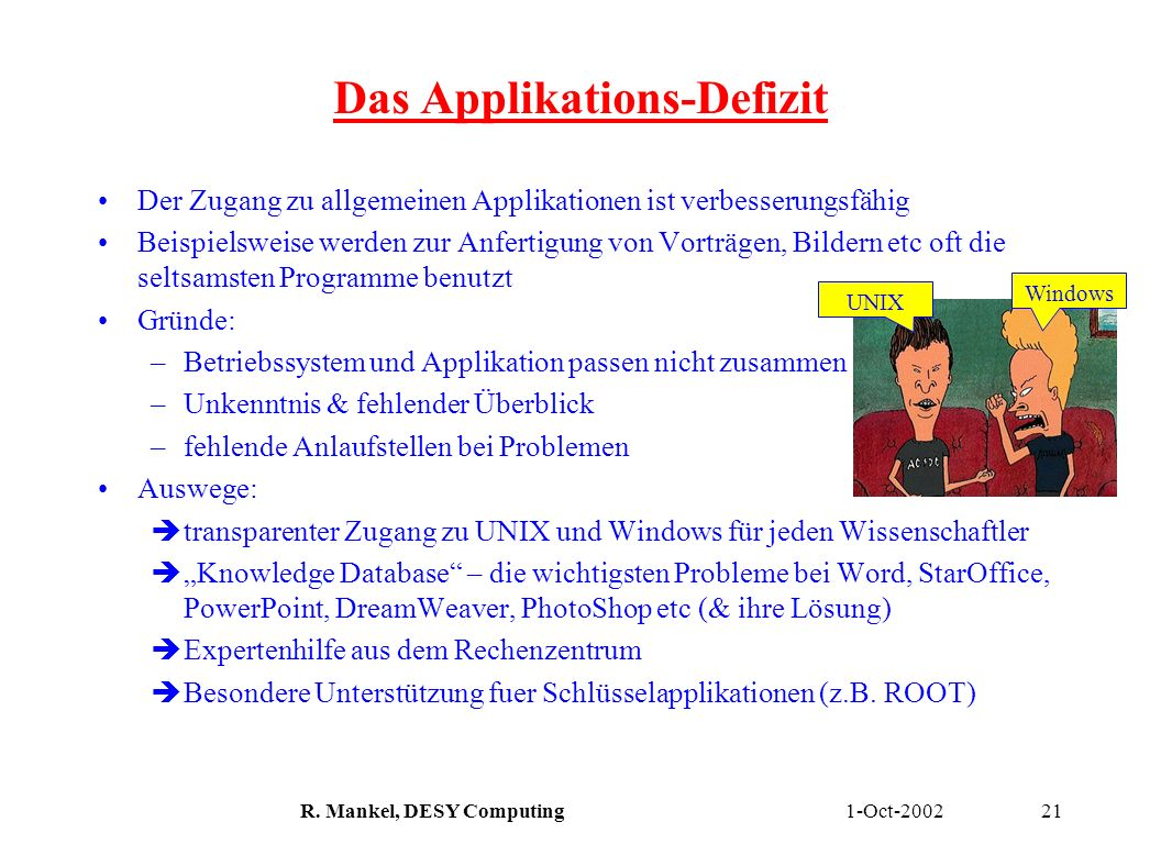 Das Applikations-Defizit