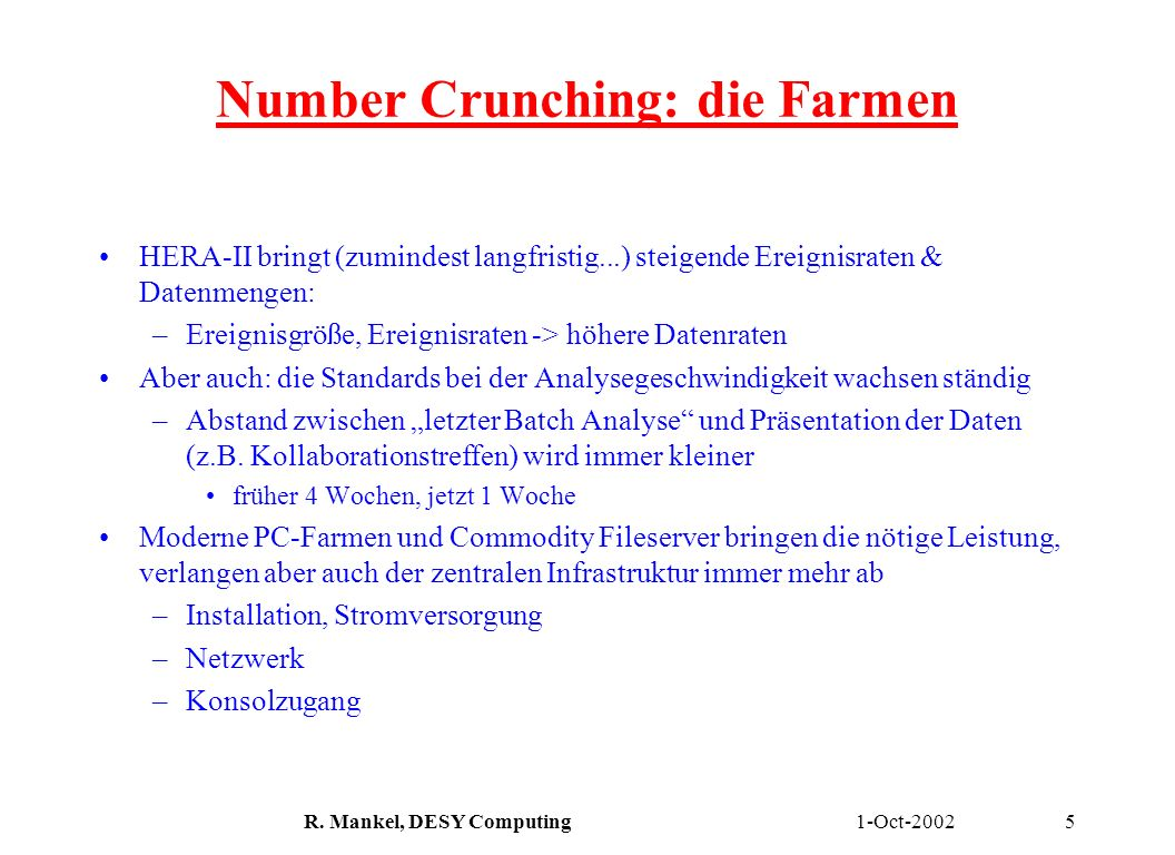 Number Crunching: die Farmen