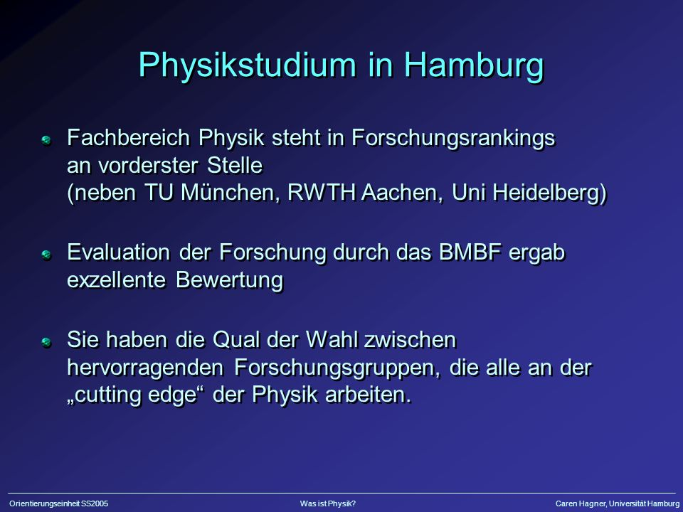 Physikstudium in Hamburg