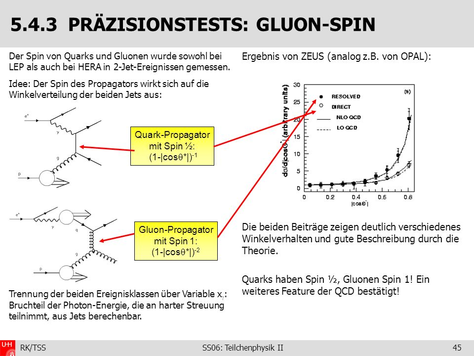 5.4.3 PRÄZISIONSTESTS: GLUON-SPIN