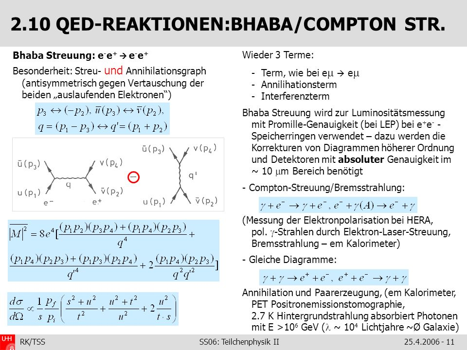 2.10 QED-REAKTIONEN:BHABA/COMPTON STR.