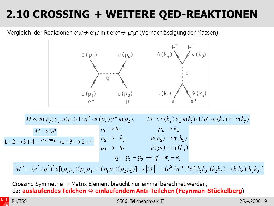 2.10 CROSSING + WEITERE QED-REAKTIONEN