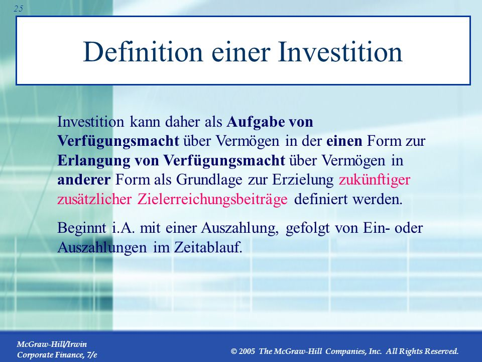 Definition einer Investition