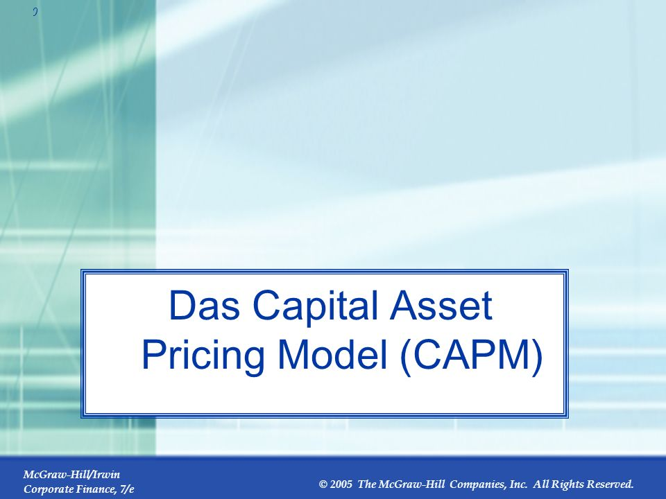 Das Capital Asset Pricing Model (CAPM)