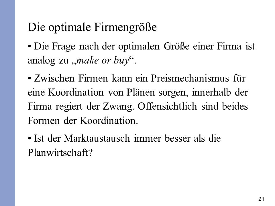 Die optimale Firmengröße