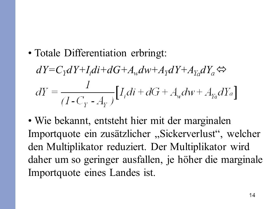 Totale Differentiation erbringt: