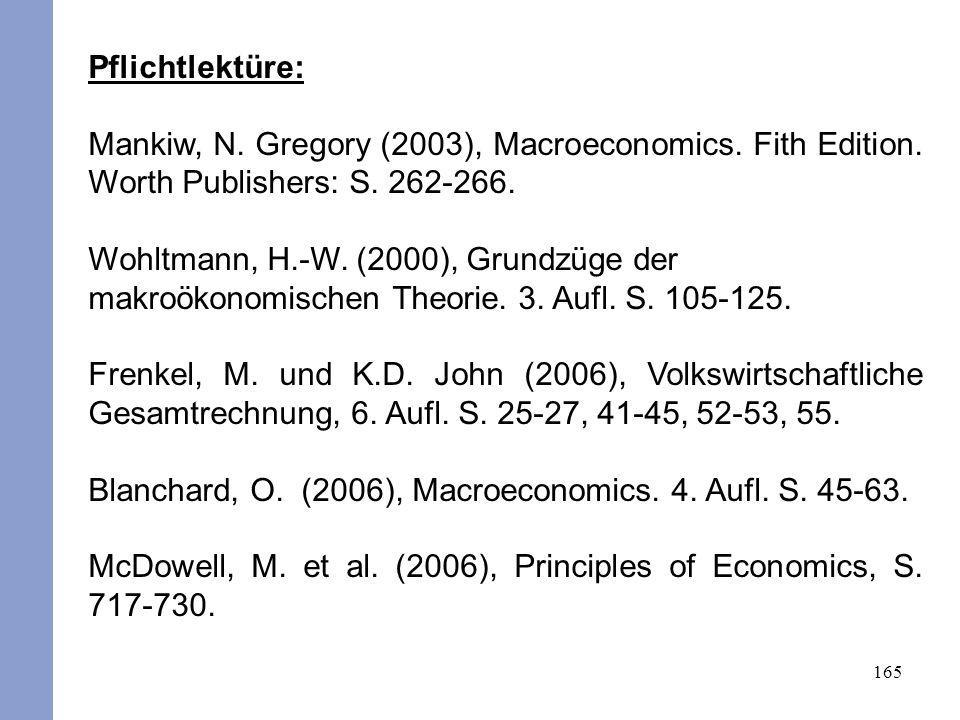 Pflichtlektüre: Mankiw, N. Gregory (2003), Macroeconomics. Fith Edition. Worth Publishers: S