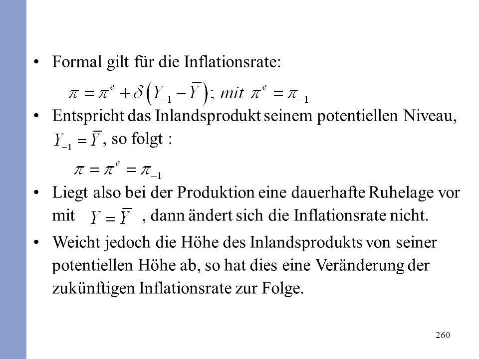 Formal gilt für die Inflationsrate: