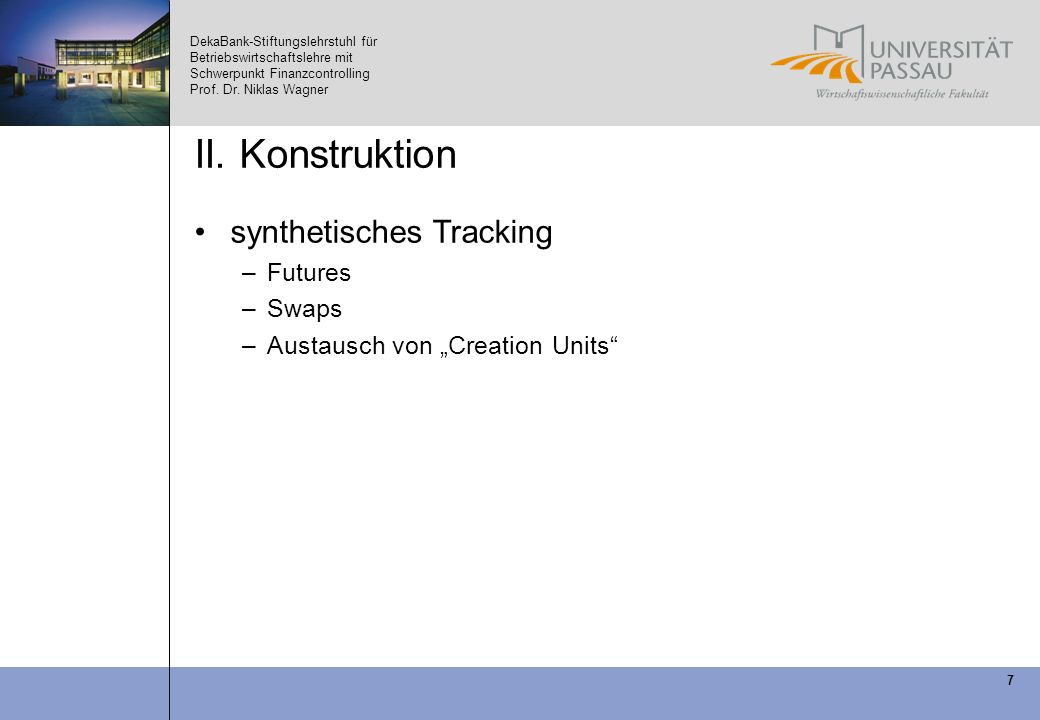 II. Konstruktion synthetisches Tracking Futures Swaps