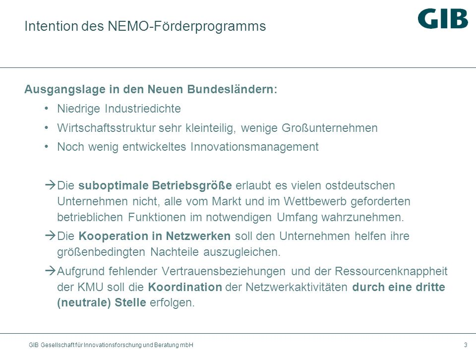 Intention des NEMO-Förderprogramms