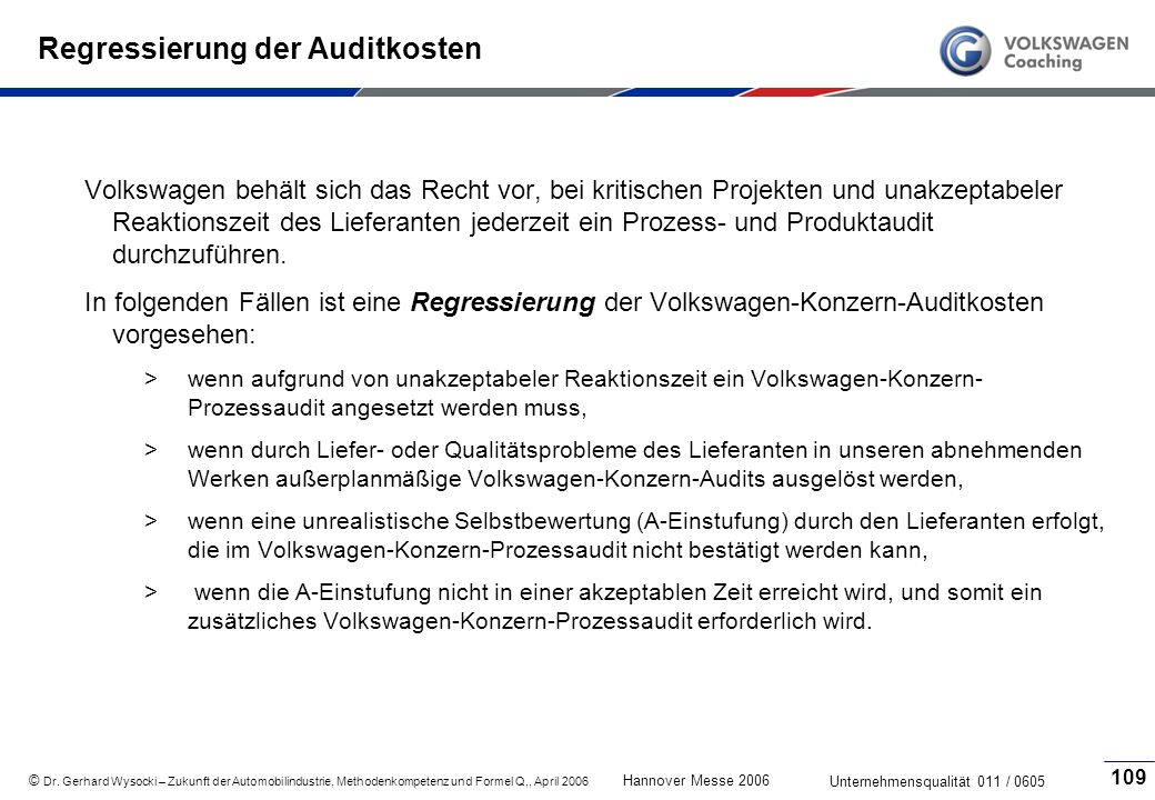 Regressierung der Auditkosten