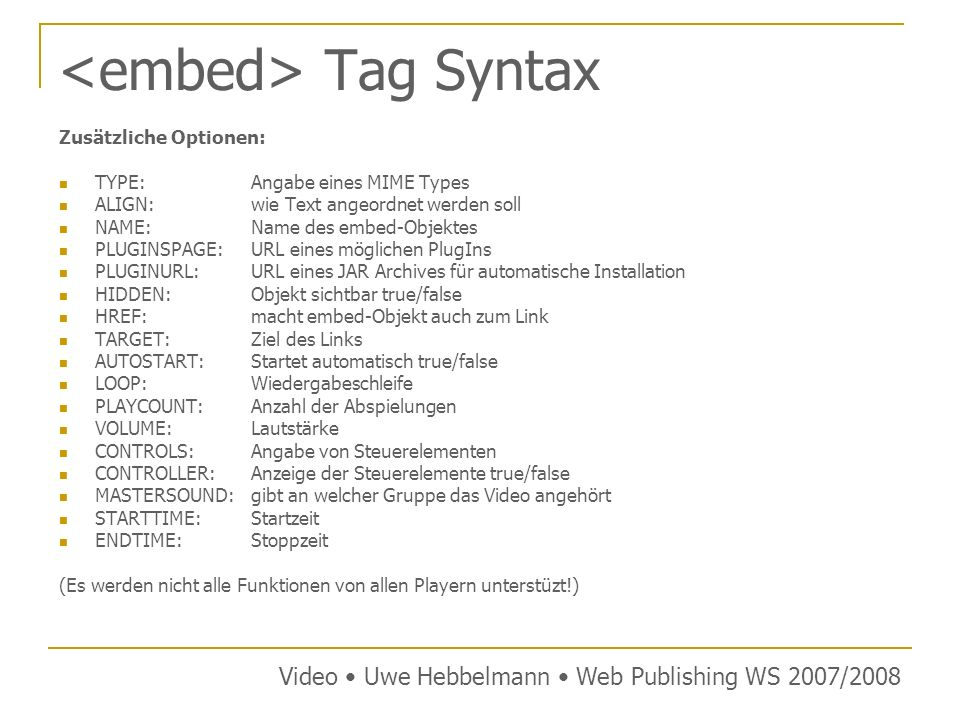 <embed> Tag Syntax