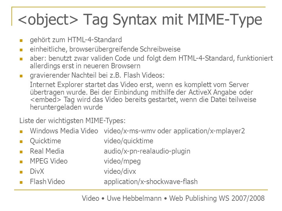 <object> Tag Syntax mit MIME-Type